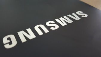 Samsung on a black background