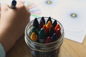 colored pencils in a glass closeup