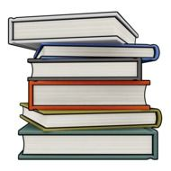 drawing of a stack of books on a white background