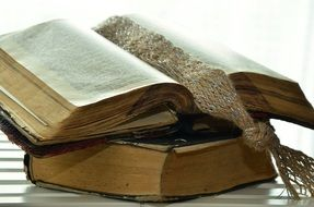 open Old Bible with bookmark