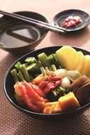 Japan steamed food vegetables