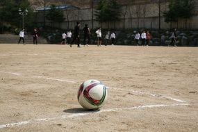 Ball on ground, school Football Exercise