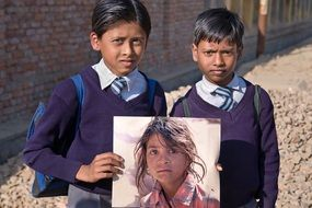 indian boys with girl portrait
