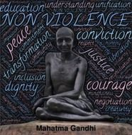 Gandhi on a black background against violence