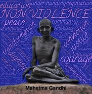 Gandhi on a blue background against violence