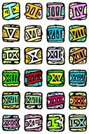 Colorful Roman numbers clipart