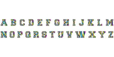 Multicolored letters of the English alphabet on a white background