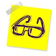 yellow sticker with glasses