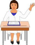 Child is sitting on the desk clipart