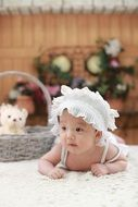 cute baby in white dress