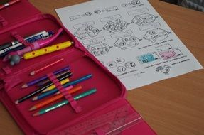 School Pencil Case and Paper with counting task