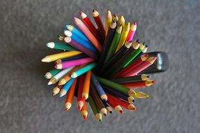 color pencils in cup