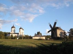 church and windmill