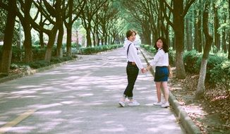 two school girls in university campus