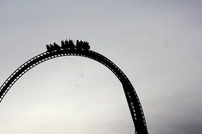 silhouette of roller coaster