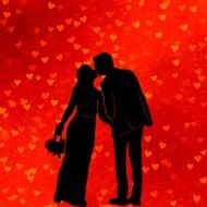 silhouette of romantic wedding couple
