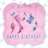 Card Happy Birthday Lady drawing