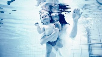 Underwater Baby with Mom