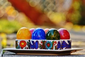 colorful Easter eggs in the box