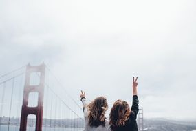 women on the golden gate bridge