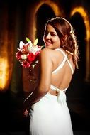 romantic bride with bouquet