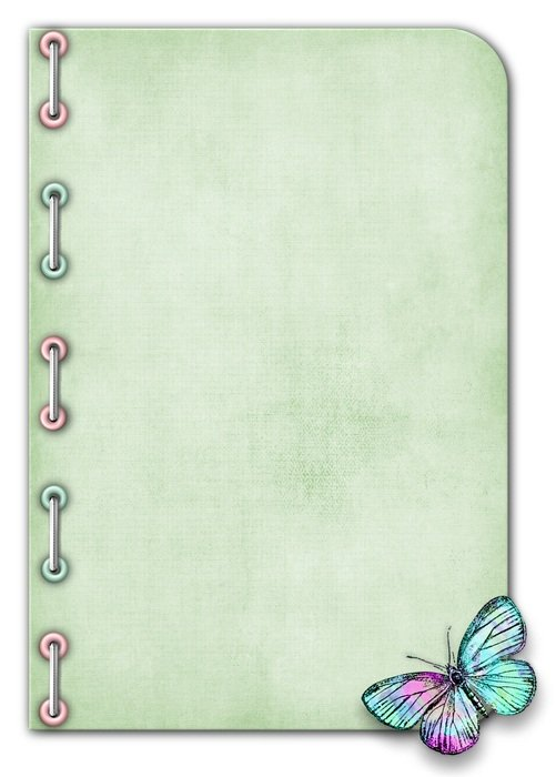 Card for Notes with colorful Butterfly, digital art