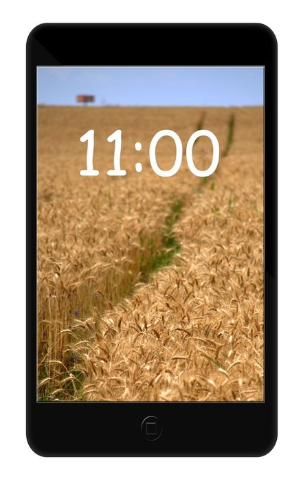 black smartphone with the image of a wheat field
