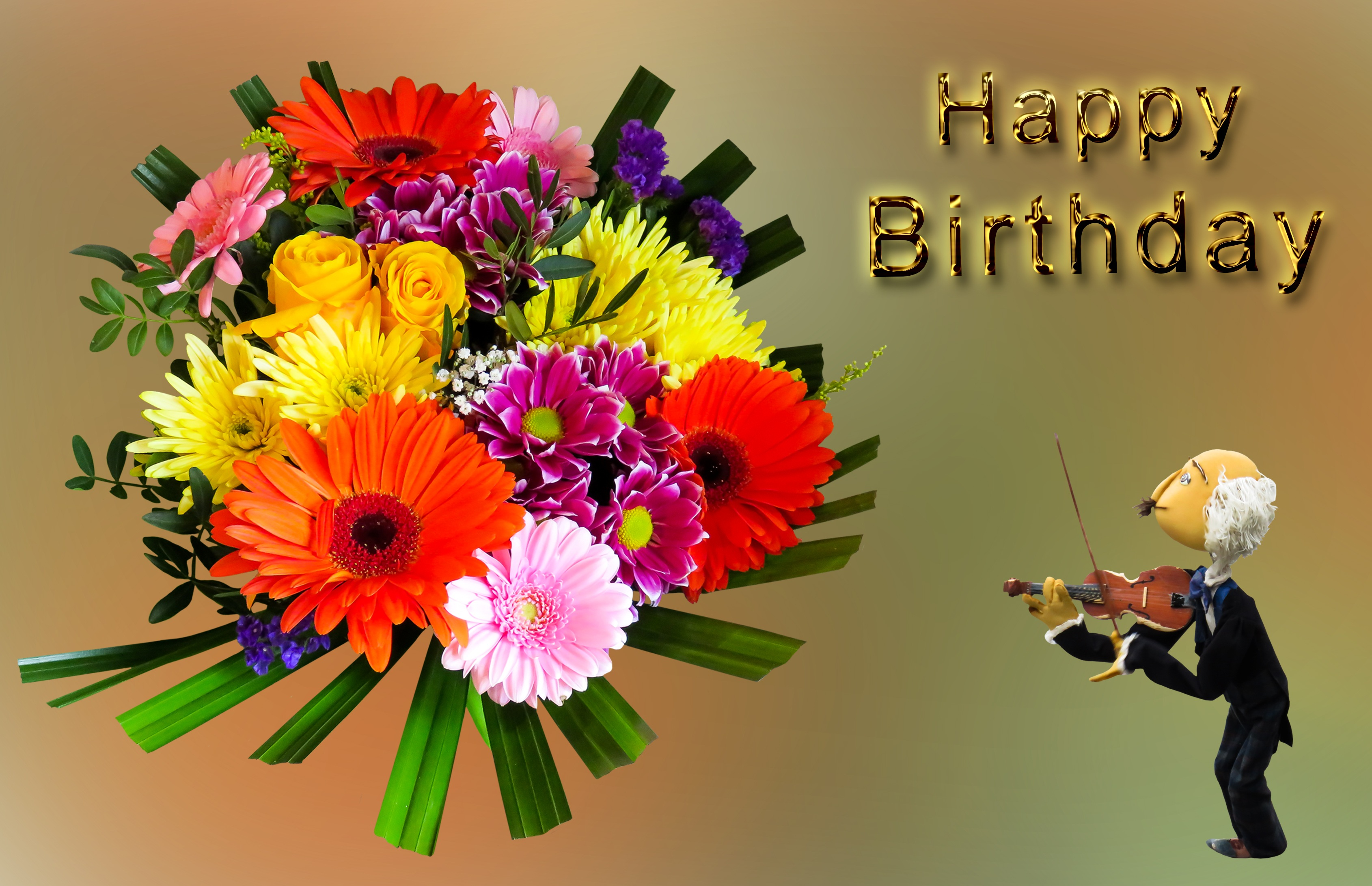 Birthday Greeting Card With Flower Bouquet And Violinist