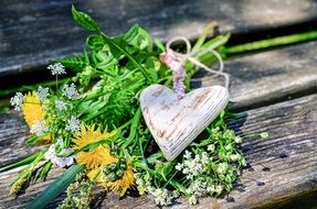 wildflowers and wooden heart bouquet