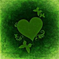 green greeting card with heart