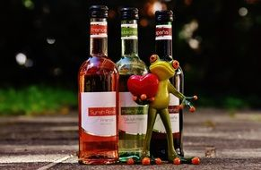 ceramic Frog with Wine Drink