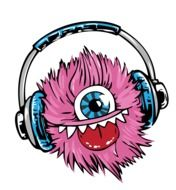 pink monster in headphones