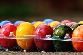 Colorful Easter Eggs in the transparent box