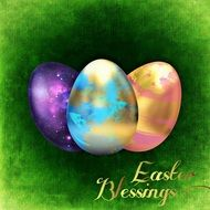 green greeting card with Easter eggs