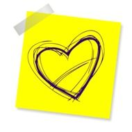 yellow sticker with heart