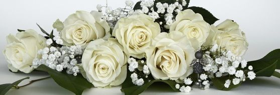 beautiful bouquet with white roses