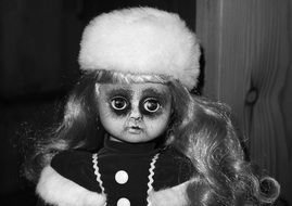 Horror Doll Face monochrome photo