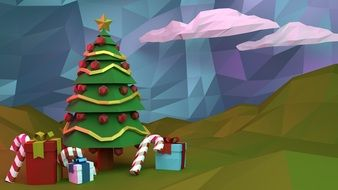 3d Christmas tree clipart