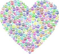 Colorful peace symbols in Heart form