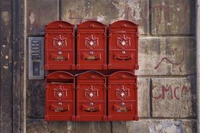 Red mailboxes in Rome in Italy