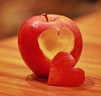 heart on a red apple