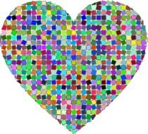 isolated rainbow mosaic heart