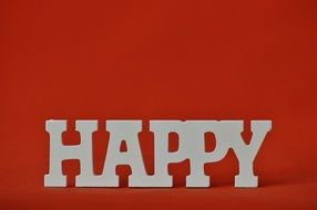 happy emotion on the red background