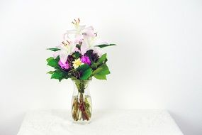 pink and green flowers bouquet