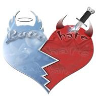 love and hate, illustration with heart in two parts
