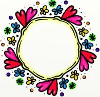 round frame with hearts drawing