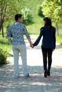 walking romantic couple