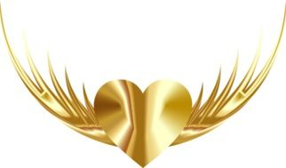 golden heart with wings on a white background