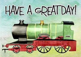 greeting card with vintage locomotive