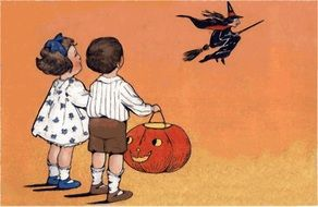 Witch Halloween and Children with Pumpkin drawing